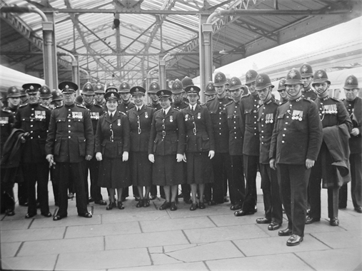 BTC Police officers parading at Swansea for a Royal Visit c.1950