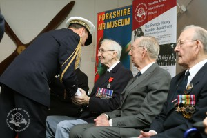 Contre Amiral Patrick Chevallereau presenting the Legion d'Honneur, Frances's highest award to Geoffrey Lawrence from Bradford at the Yorkshirein Air Museum. Picture: Richard Doughty Photography